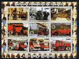 Congo 2003 Fire Services 1,000 Years - French Engines perf sheetlet containing 9 values each with Rotary Logo unmounted mint