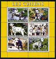 Congo 2003 Dogs (Dalmations) perf sheetlet #01 (yellow border) containing 6 values each with Rotary Logo, unmounted mint