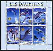 Congo 2003 Dolphins perf sheetlet #01 (vert stamps) containing 6 values each with Rotary Logo, unmounted mint