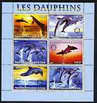 Congo 2003 Dolphins perf sheetlet #02 (horiz stamps) containing 6 values each with Rotary Logo, unmounted mint
