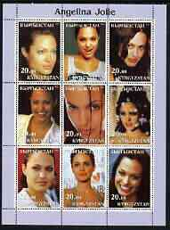 Kyrgyzstan 2003 Angelina Jolie perf sheetlet containing 9 values unmounted mint
