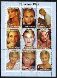 Kyrgyzstan 2003 Cameron Diaz perf sheetlet containing 9 values unmounted mint