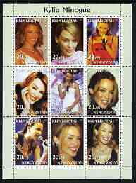 Kyrgyzstan 2003 Kylie Minogue perf sheetlet containing 9 values unmounted mint