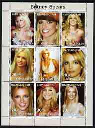 Kyrgyzstan 2003 Britney Spears perf sheetlet containing 9 values unmounted mint