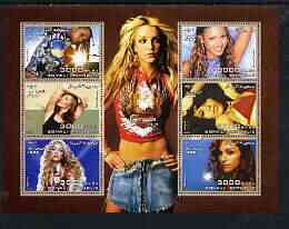 Somalia 2003 Pop Stars #1 perf sheetlet containing 6 values unmounted mint (Alicia Keys, Kylie, Shakira, Beyonce, Madonna & Aaliyah)