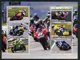 Benin 2003 Racing Motorcycles perf sheetlet containing 6 values unmounted mint