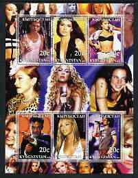 Kyrgyzstan 2003 Pop Stars #1 perf sheetlet containing 6 values unmounted mint (Justine Timberlake, Shania Twain, Britney Spears, Robbie Williams, Beyonce & Enrique Igless...