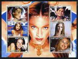 Kyrgyzstan 2003 Pop Stars #2 perf sheetlet containing 6 values unmounted mint (Kylie, Britney Spears, Melanie C, Nelly Furtado, Avril Lavigne & Madonna)