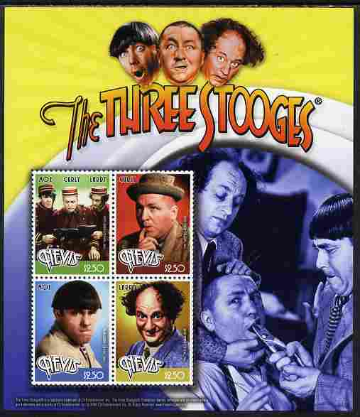 Nevis 2009 The Three Stooges perf sheetlet containing 4 values unmounted mint