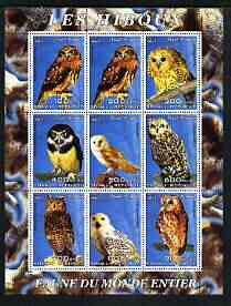 Somalia 2003 Owls perf sheetlet containing 9 values unmounted mint