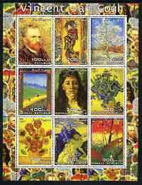 Somalia 2003 Paintings by Vincent Van Gogh #1 perf sheetlet containing 9 values unmounted mint (vertical format)