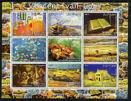 Somalia 2003 Paintings by Vincent Van Gogh #2 perf sheetlet containing 9 values unmounted mint (horizontal format)