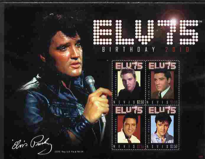 Nevis 2010 75th Birthday of Elvis Presley perf sheetlet containing 4 values unmounted mint