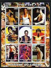 Congo 2003 History of the Cinema #01 perf sheetlet containing 9 values unmounted mint (Showing Bruce Lee)