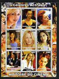 Congo 2003 History of the Cinema #06 (Actresses) perf sheetlet containing 9 values unmounted mint (Showing Heather Locklear, Penelope Cruz, Gillian Anderson, Jennifer Ani...