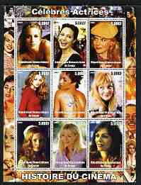 Congo 2003 History of the Cinema #07 (Actresses) perf sheetlet containing 9 values unmounted mint (Showing Christina Applegate, Angelina Jolie, Nicole Kidman, Heather Graham, Halle Berry, Drew Barrymore, Mena Suvari, Gwyneth Paltrow & Elizabeth Hurley)