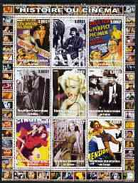 Congo 2003 History of the Cinema #10 perf sheetlet containing 9 values unmounted mint (Showing Film Posters plus Madonna, etc)