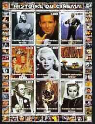Congo 2003 History of the Cinema #16 perf sheetlet containing 9 values unmounted mint (Showing James Dean, Bob Hope, Marilyn, etc)