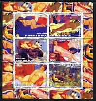 Benin 2003 Nudes in Art #03 perf sheetlet containing 6 values unmounted mint (works by Vallotton, Gauguin, B\9Acklin, Glackens, Larionov & Rousseau)