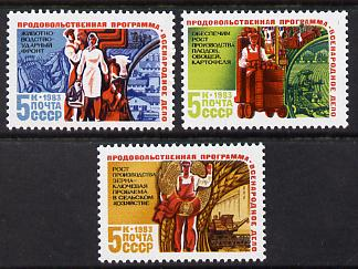 Russia 1983 Food Programme set of 3 unmounted mint, SG 5373-75, Mi 5320-22*