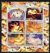 Benin 2003 Nudes in Art #08 perf sheetlet containing 6 values unmounted mint (works by Valadon x 2, Wiertz, Renoir & Frieseke x 2)