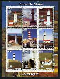 Benin 2003 Lighthouses of America perf sheetlet containing 9 values each with Rotary Logo unmounted mint
