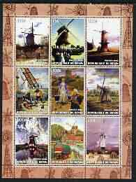 Benin 2003 Paintings of Windmills #03 perf sheetlet containing 9 values unmounted mint
