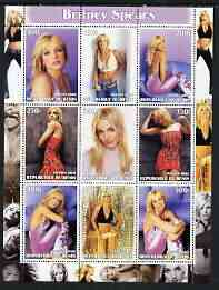 Benin 2003 Britney Spears perf sheetlet containing 9 values unmounted mint