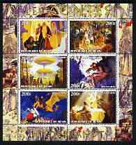 Benin 2003 Fairy Tales - paintings by Hildebrandt perf sheetlet containing 6 values unmounted mint, stamps on arts, stamps on fairy tales, stamps on children, stamps on dragons
