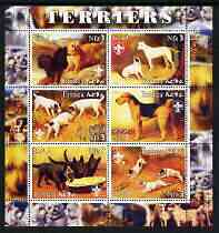 Eritrea 2003 Paintings of Terriers perf sheetlet containing set of 6 values each with Scouts Logo, unmounted mint