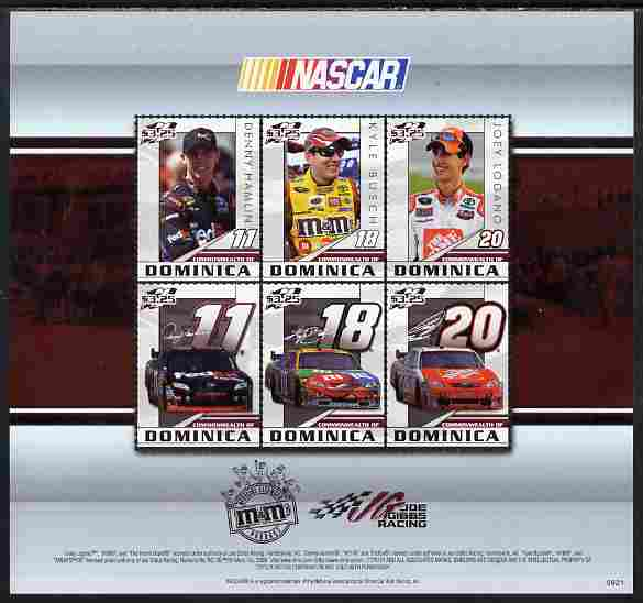 Dominica 2009 NASCAR perf sheetlet containing 6 values unmounted mint