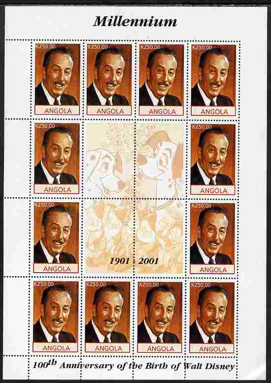 Angola 2001 Centenary of Walt Disney perf sheetlet containing 12 values plus 4 labels unmounted mint, corner wrinkled