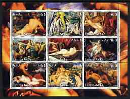 Eritrea 2003 Paintings of Nudes #1 perf sheet containing 9 values, unmounted mint (showing works by Cezanne, Tintoretto, Valazquez, Sanzio, Carracci, Boucher, Van Dyke, R...