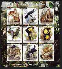 Mauritania 2003 The Nature Conservancy perf sheetlet containing set of 9 values (Birds & Animals by John Audubon) unmounted mint