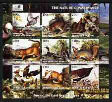 Benin 2003 The Nature Conservancy perf sheetlet containing set of 9 values (Birds & Animals by John Audubon) unmounted mint