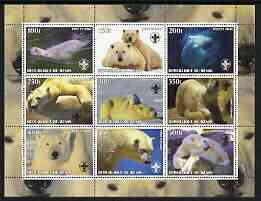Benin 2003 Polar Bears perf sheetlet containing set of 9 values each with Scouts Logo unmounted mint