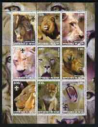 Benin 2003 Lions perf sheetlet containing set of 9 values each with Scouts Logo unmounted mint