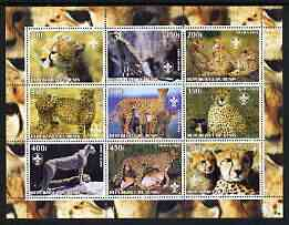 Benin 2003 Cheetahs perf sheetlet containing set of 9 values each with Scouts Logo unmounted mint