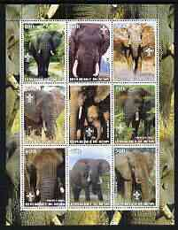 Benin 2003 Elephants perf sheetlet containing set of 9 values each with Scouts Logo unmounted mint