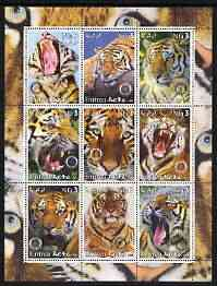 Eritrea 2003 Tigers perf sheetlet containing set of 9 values each with Rotary Logo unmounted mint