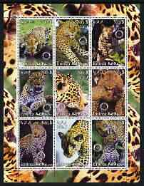 Eritrea 2003 Leopards perf sheetlet containing set of 9 values each with Rotary Logo unmounted mint