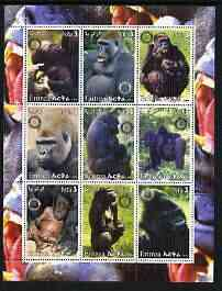 Eritrea 2003 Gorillas perf sheetlet containing set of 9 values each with Rotary Logo unmounted mint