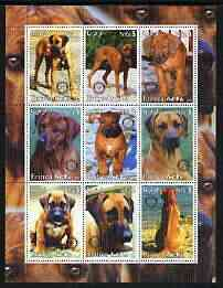 Eritrea 2003 Dogs - Rhodesian Ridgeback perf sheetlet containing set of 9 values each with Rotary Logo unmounted mint