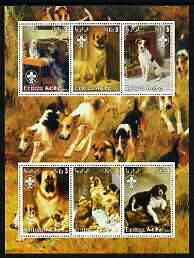 Eritrea 2003 Paintings of Dogs perf sheetlet containing 6 values each with Scouts Logo unmounted mint