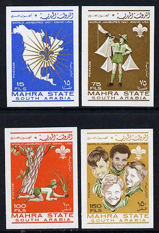 Aden - Mahra 1967 Scouts imperf set of 4 unmounted mint, Mi 12-15B