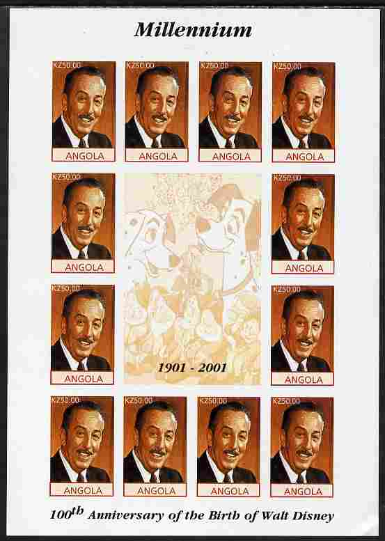 Angola 2001 Centenary of Walt Disney imperf sheetlet containing 12 values plus 4 labels unmounted mint, corner wrinkled
