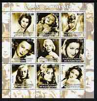 Mauritania 2003 Classic Actresses perf sheetlet containing 9 values unmounted mint (showing Sophia Loren, Rita Hayworth, M Dietrich, Marilyn, Greta Garbo, B Bardot etc)
