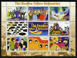 Eritrea 2003 The Beatles Yellow Submarine #2 perf sheetlet containing set of 9 (horizontal) values unmounted mint