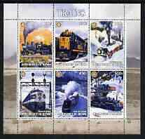 Benin 2003 Old Trains #2 perf sheetlet containing set of 6 values each with Rotary Logo, unmounted mint