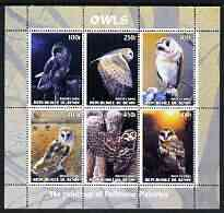 Benin 2003 Owls #2 perf sheetlet containing 6 values unmounted mint